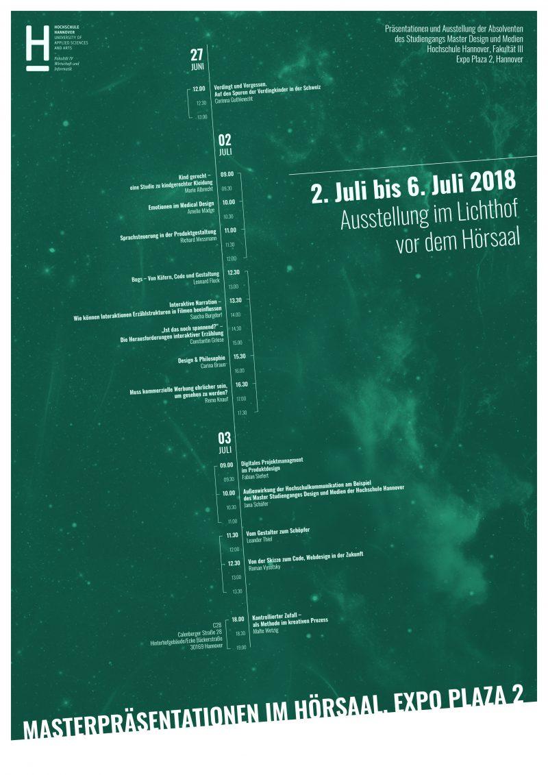 Ausstellung und Präsentation der Master-Arbeiten des Studiengang Master Design & Medien an der Hochschule Hannover